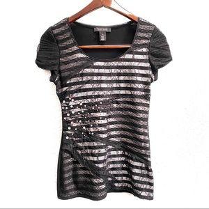 White House Black Market Mesh Rhinestone T-Shirt